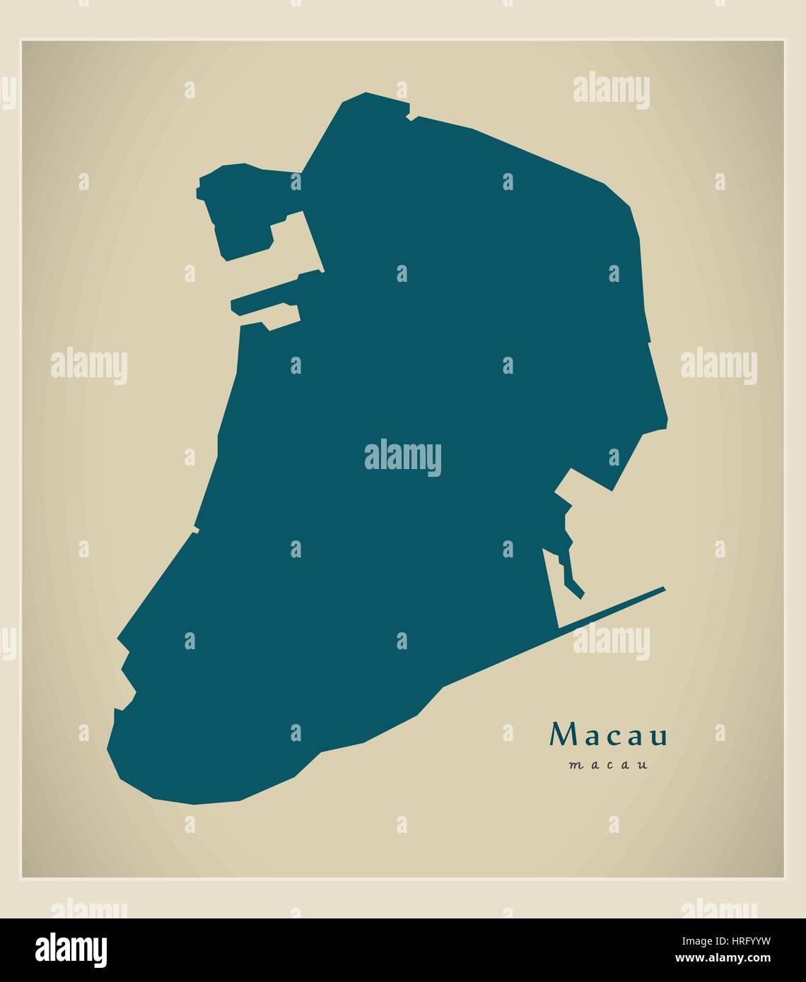 Modern Map - Macau - Stock Image
