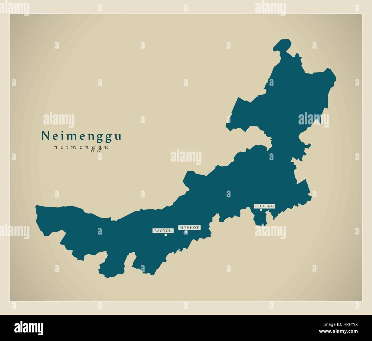 Modern Map - Neimenggu - Stock Image