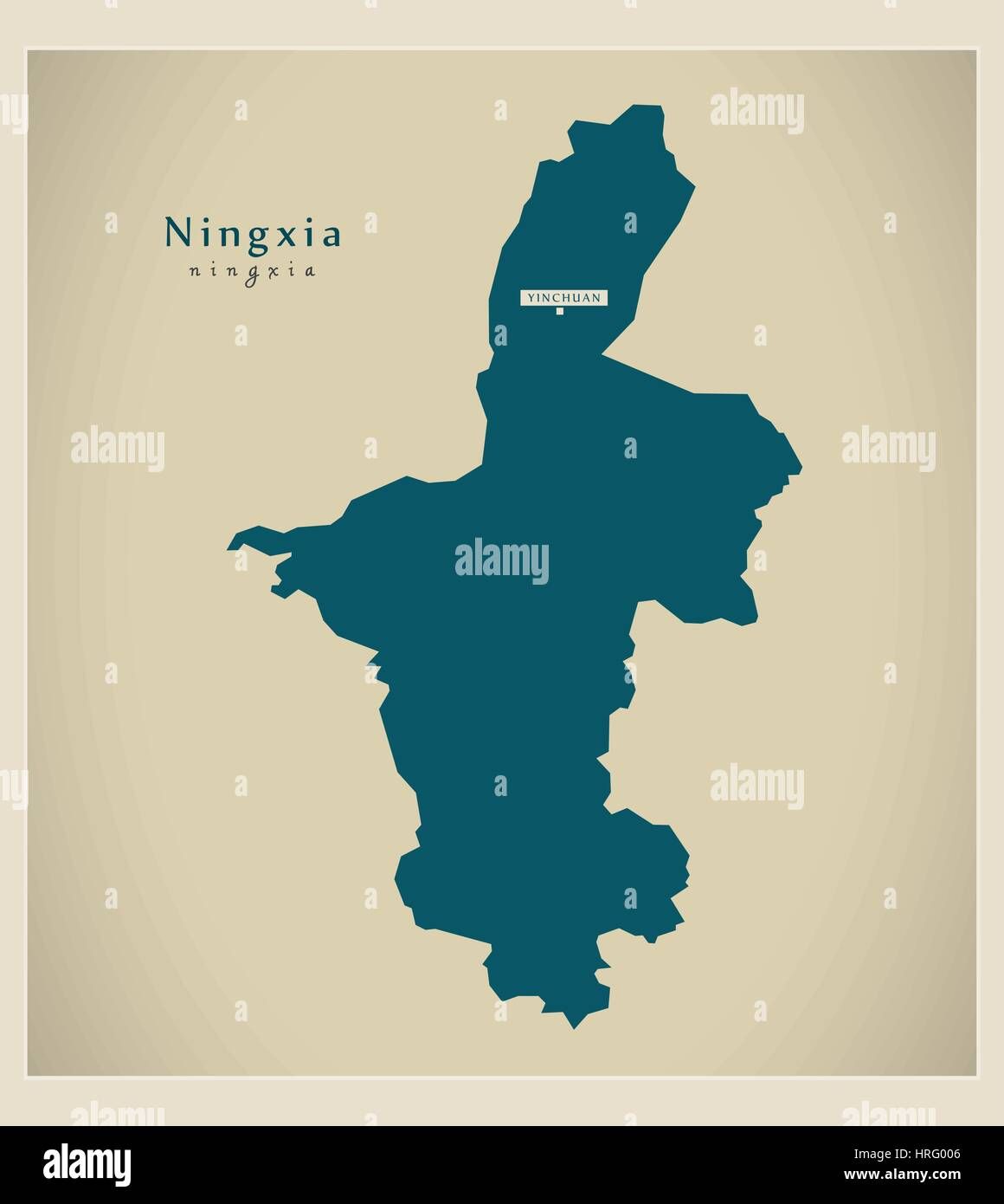 Modern Map - Ningxia - Stock Image
