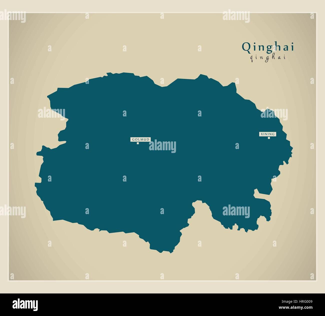 Modern Map - Qinghai - Stock Image