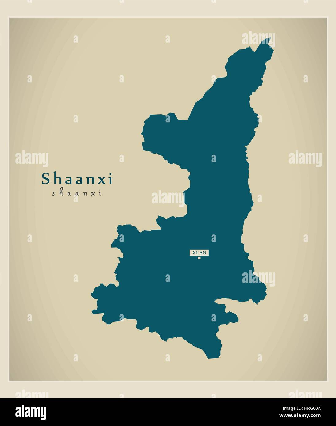 Modern Map - Shaanxi - Stock Image