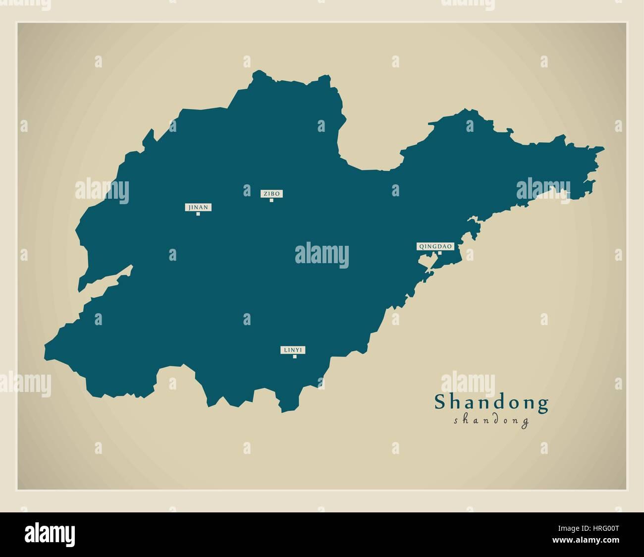 Modern Map - Shandong - Stock Image