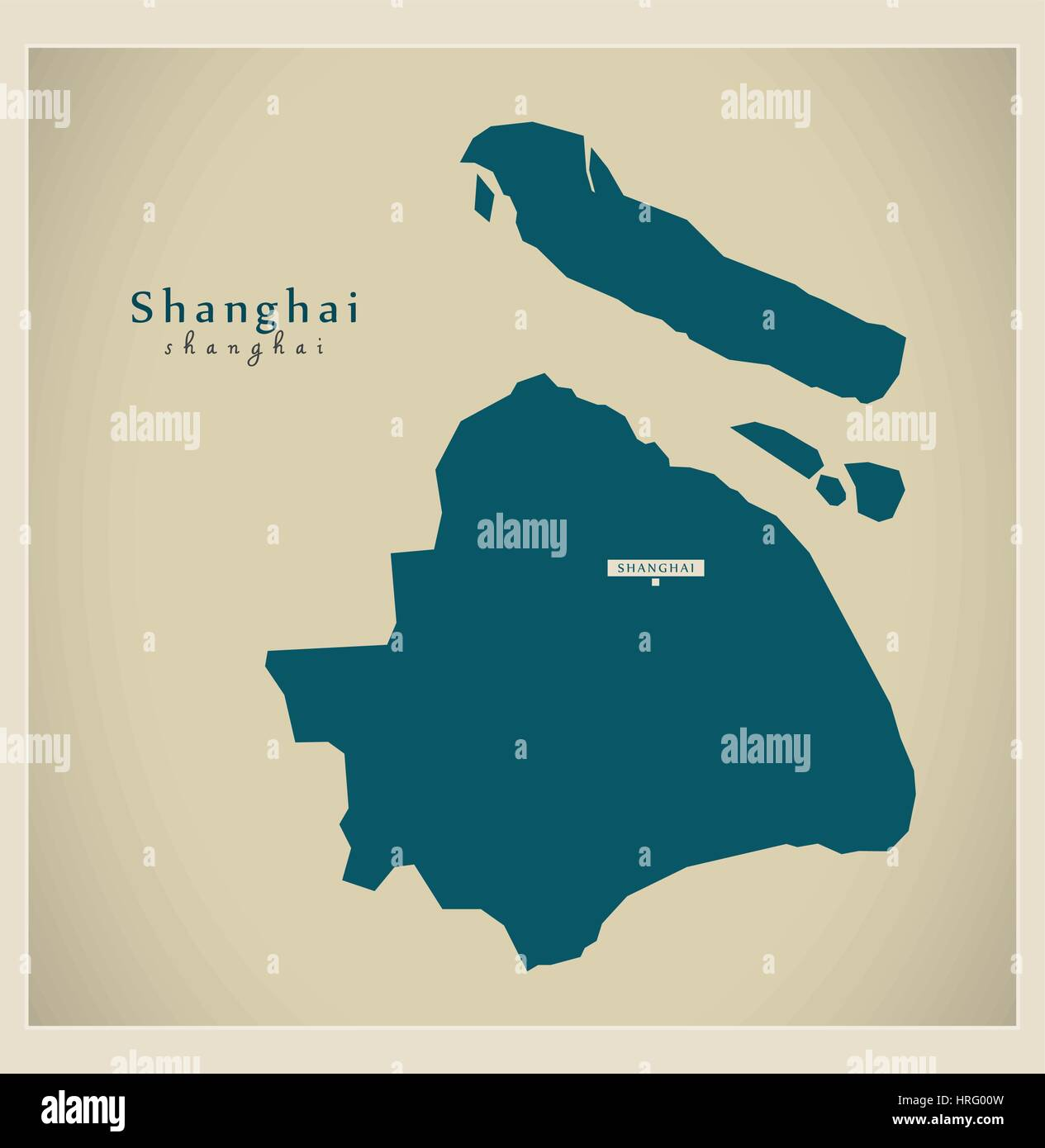 Modern Map - Shanghai - Stock Image
