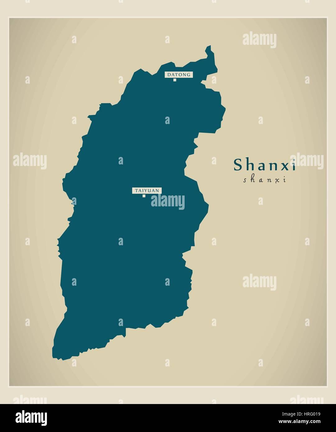Modern Map - Shanxi - Stock Image