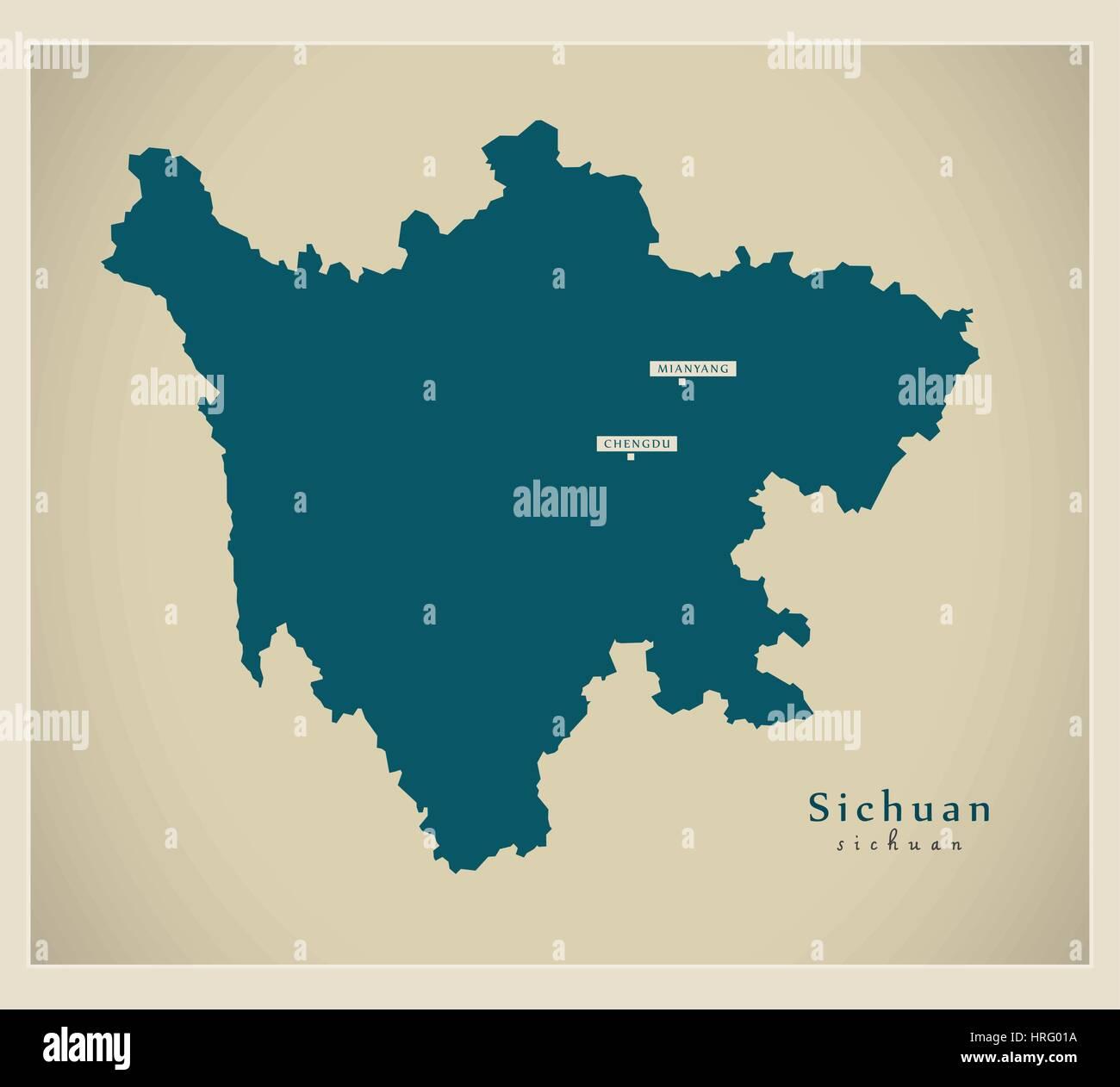 Modern Map - Sichuan - Stock Image