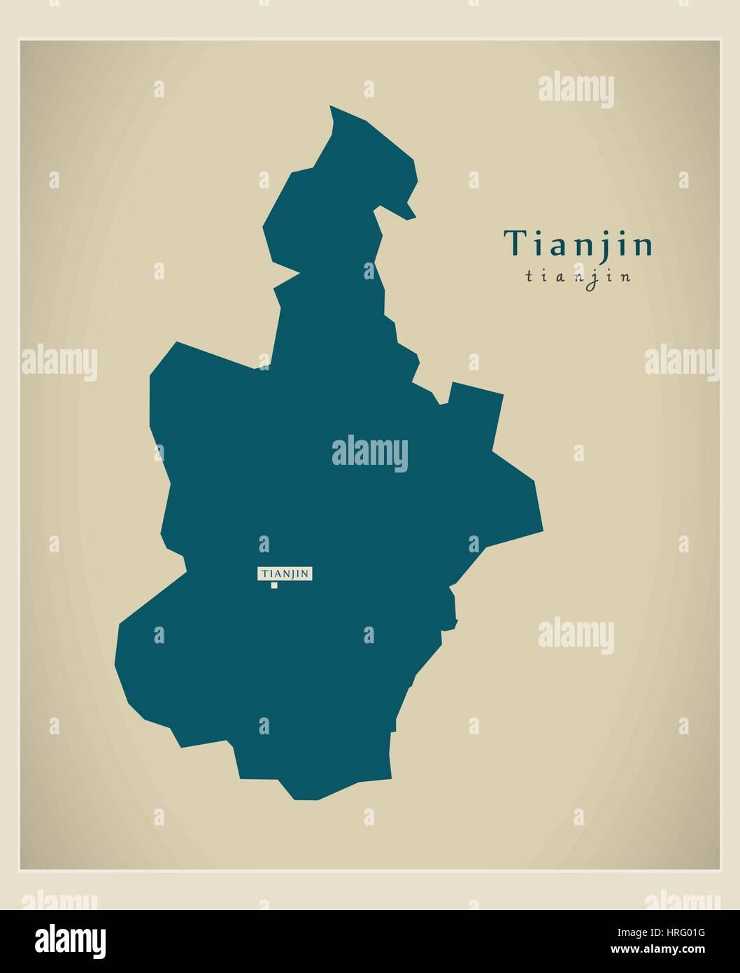 Modern Map - Tianjin - Stock Image