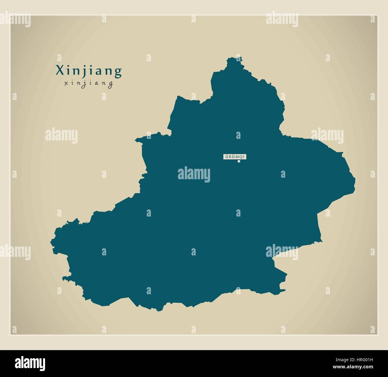 Modern Map - Xinjiang - Stock Image
