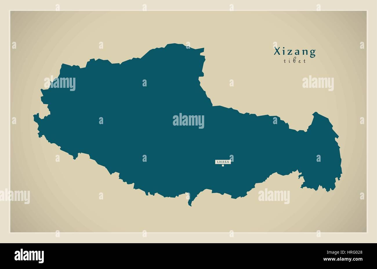 Modern Map - Xizang - Stock Image