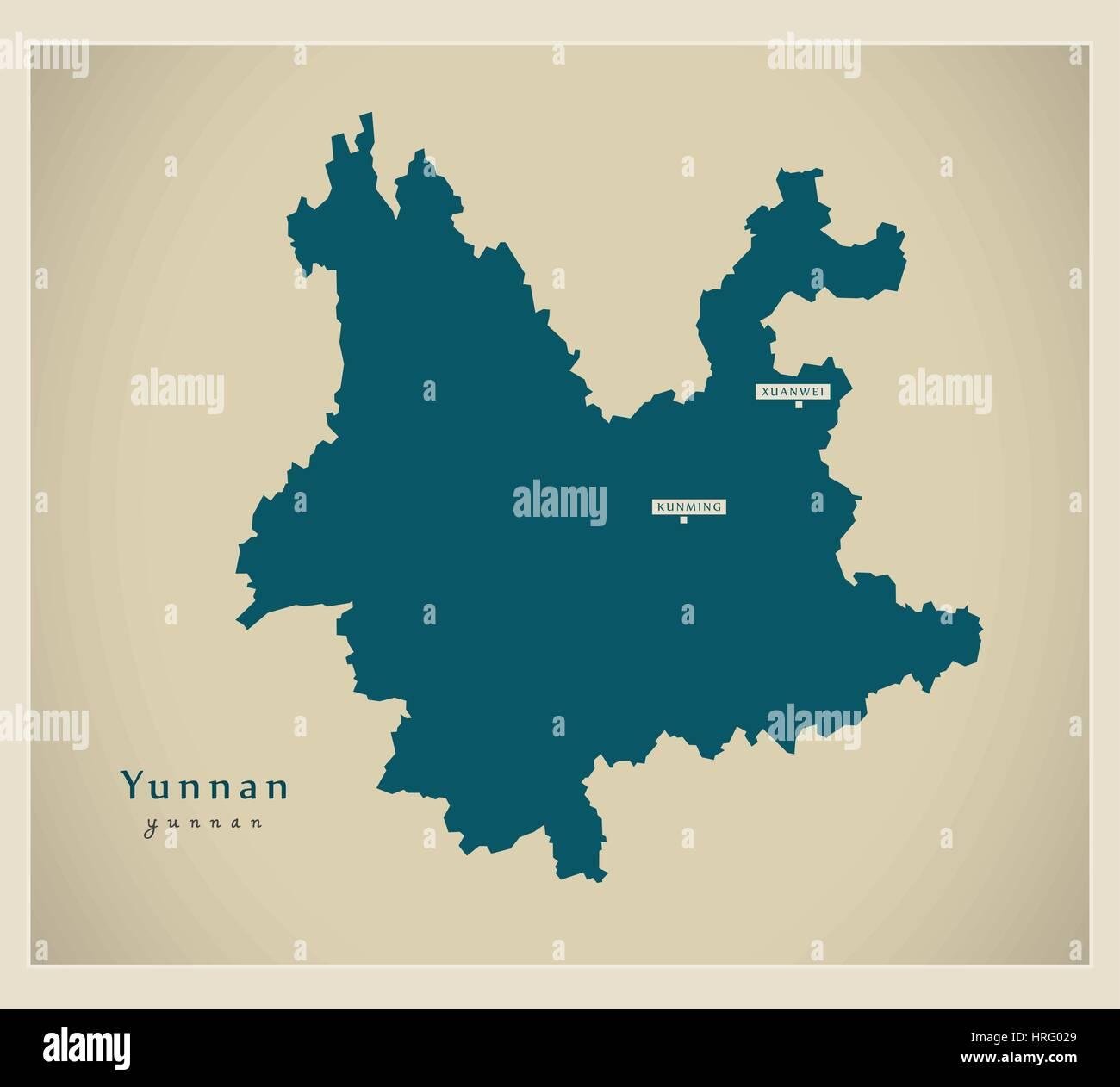 Modern Map - Yunnan - Stock Image