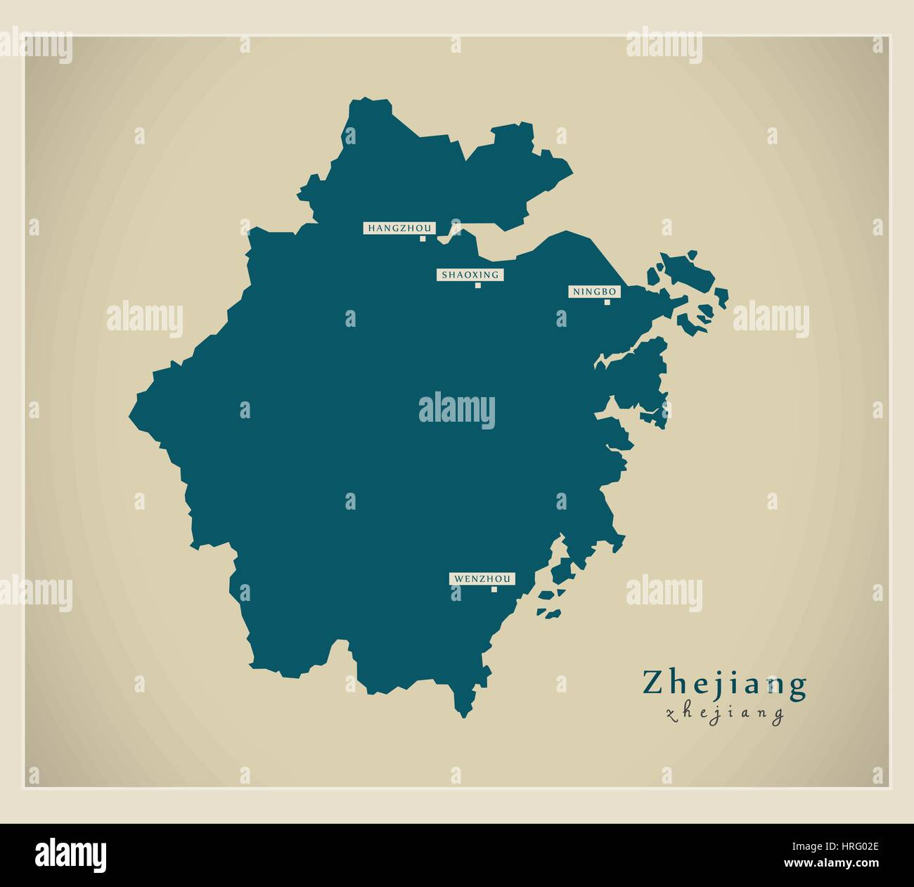 Modern Map - Zhejiang - Stock Image