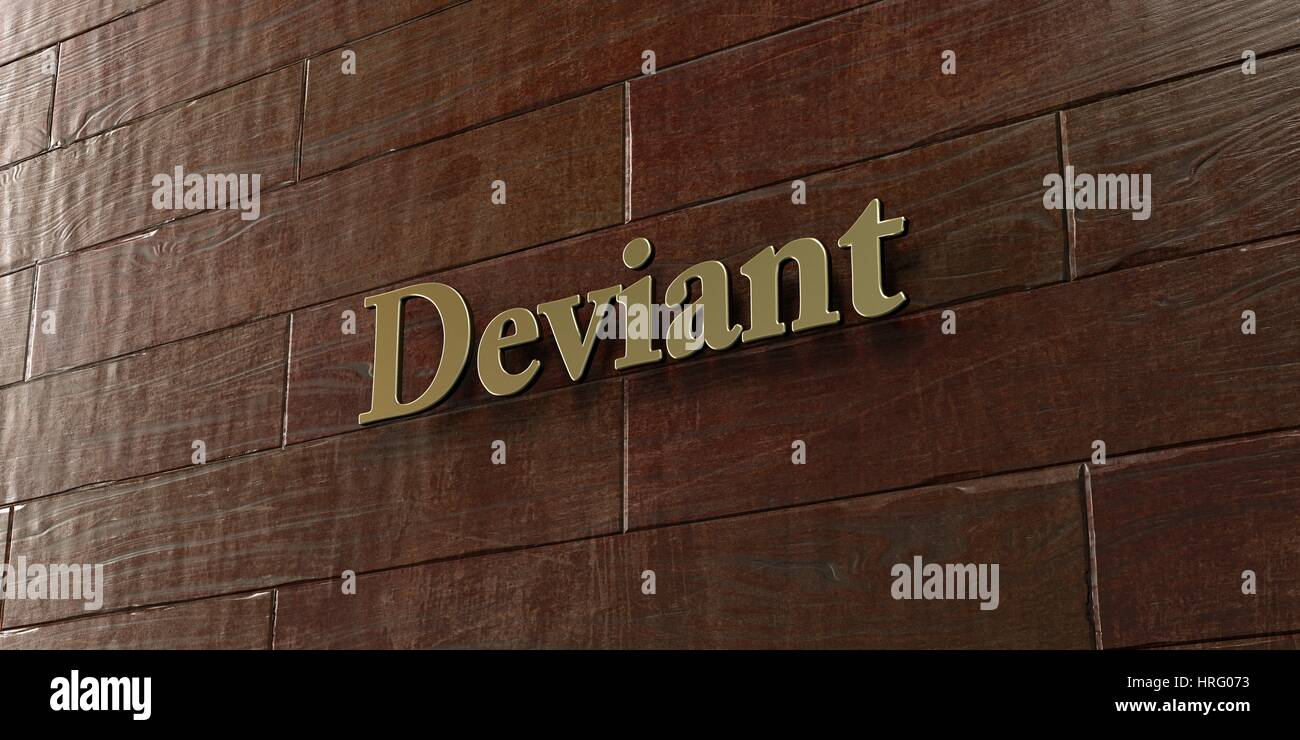 Deviant - Bronze plaque mounted on maple wood wall  - 3D rendered royalty free stock picture. This image can be - Stock Image