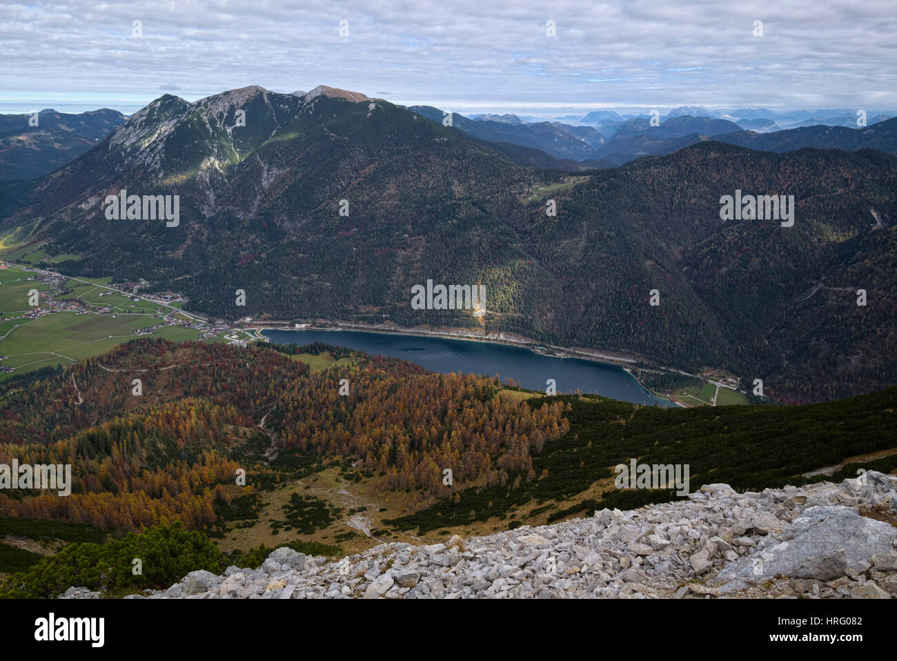 View of Achensee lake from the hiking trail to mountain Seekarspitze in autumn, Tyrol, Austria - Stock Image
