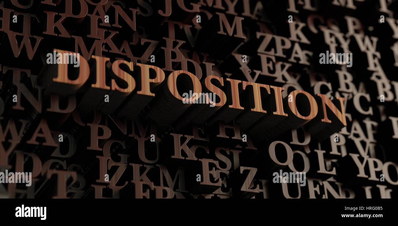 Disposition - Wooden 3D rendered letters/message.  Can be used for an online banner ad or a print postcard. - Stock Image
