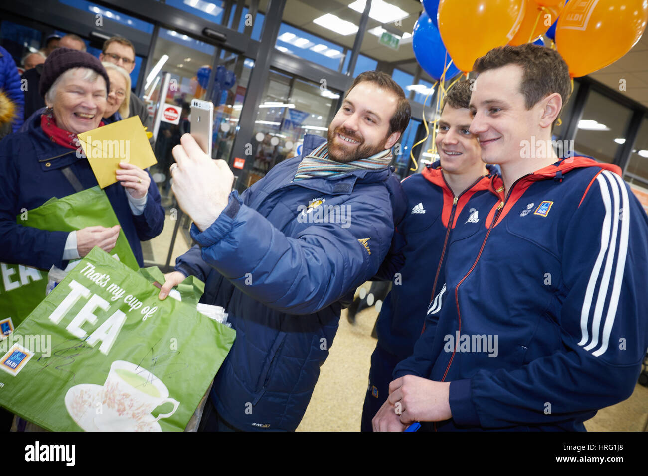 Team GB Triathlete Jonny and Alistair Brownlee aka The Brownlee Brothers open Aldi's new store in Guiseley, - Stock Image