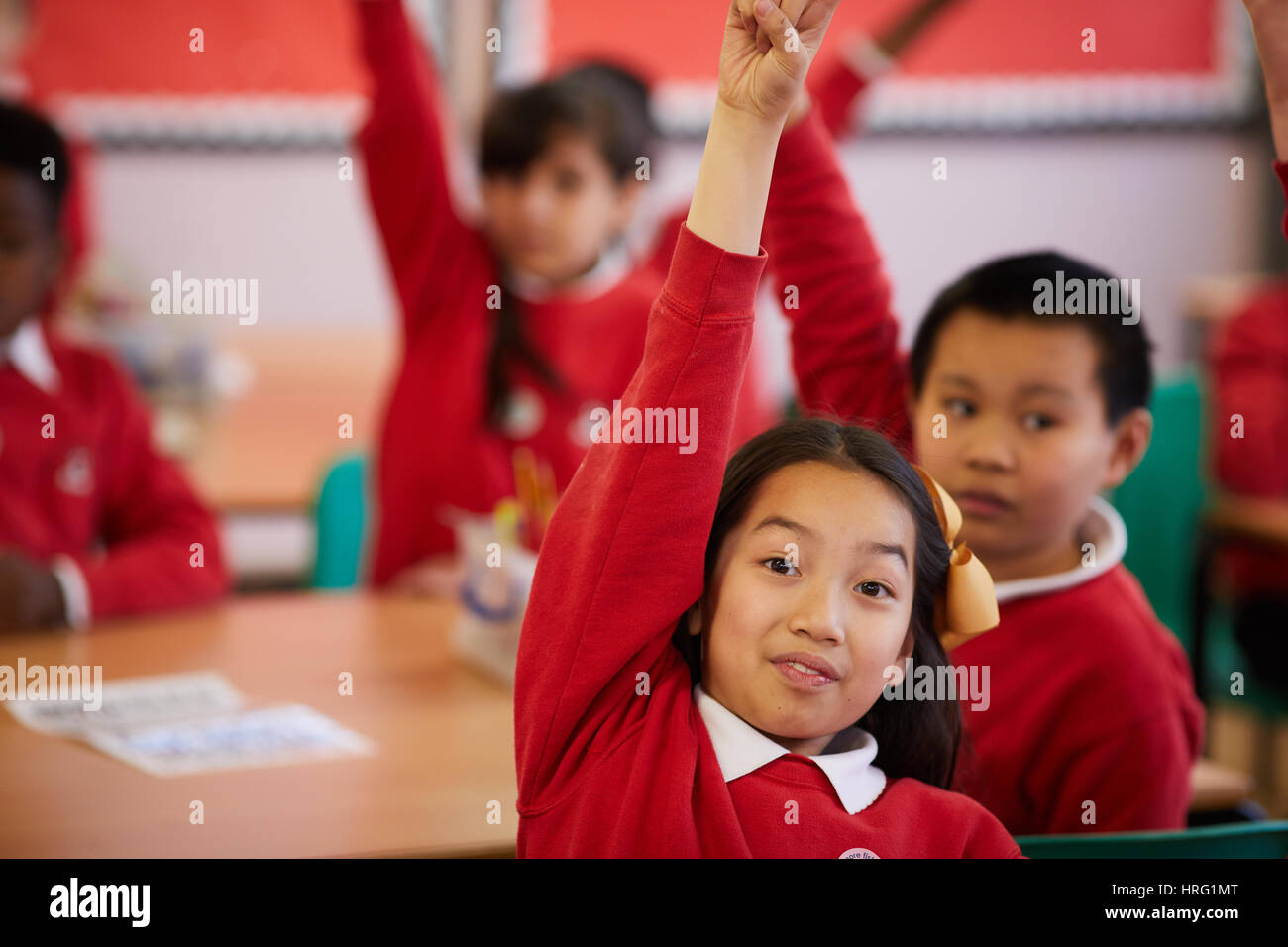 Multicultural school children at a primary school in Miles Platting Manchester. - Stock Image