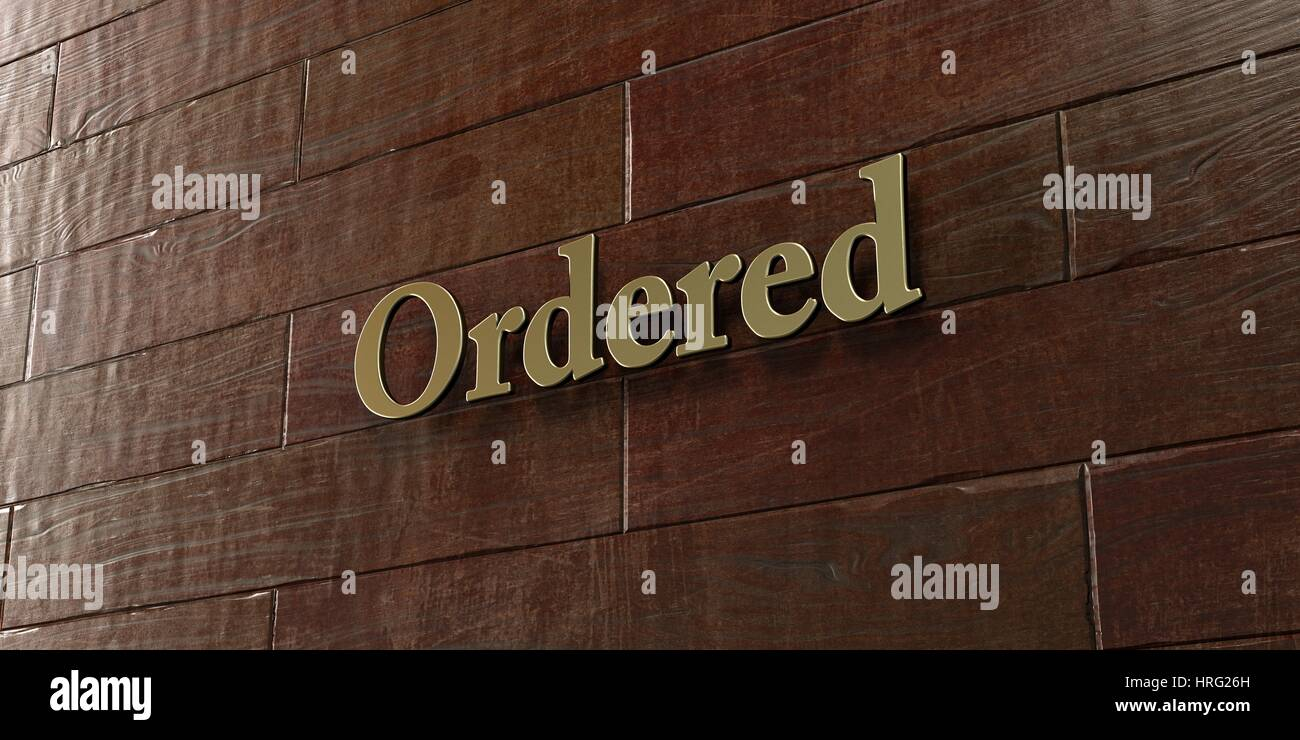Ordered - Bronze plaque mounted on maple wood wall  - 3D rendered royalty free stock picture. This image can be - Stock Image