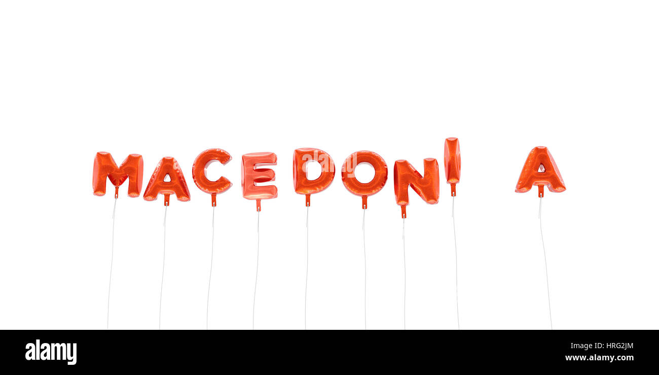 MACEDONIA - word made from red foil balloons - 3D rendered.  Can be used for an online banner ad or a print postcard. - Stock Image