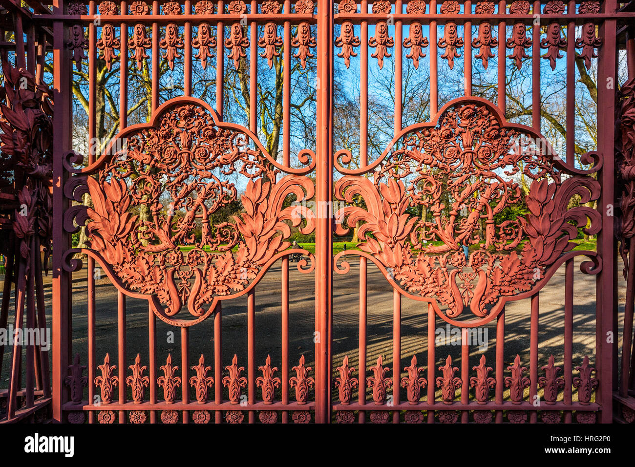 Queen's Gate with VR Motif, Kensington Gardens, London - Stock Image