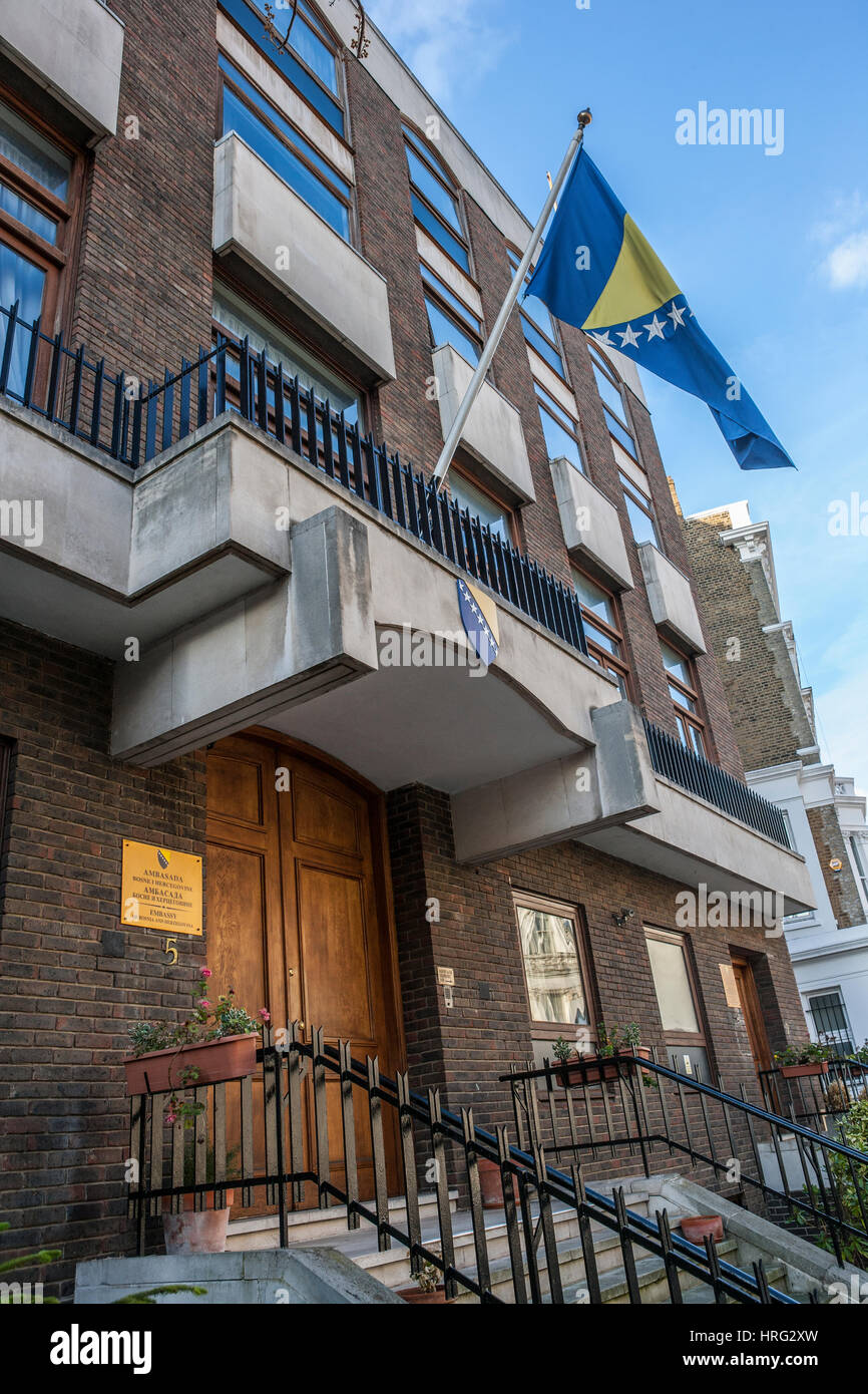 Embassy of Bosnia and Herzegovina, Kensington, London - Stock Image