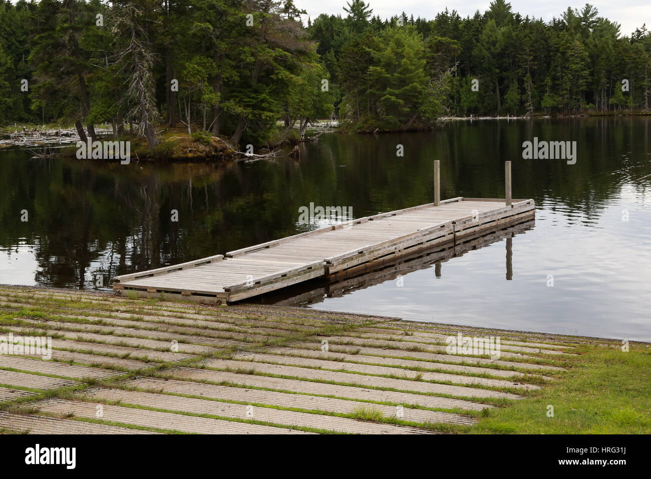 Boat Launching Ramp and Float at Lily Bay State Park on the eastern shore of magnificent Moosehead Lake - Stock Image