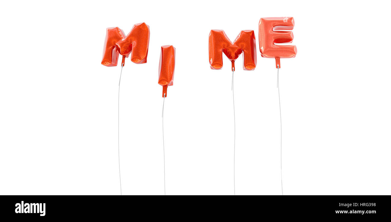 MIME - word made from red foil balloons - 3D rendered.  Can be used for an online banner ad or a print postcard. - Stock Image