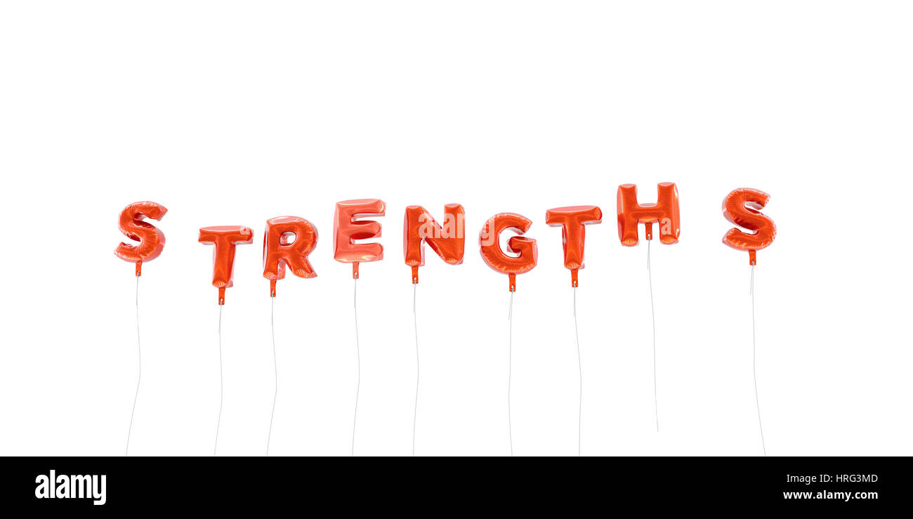 STRENGTHS - word made from red foil balloons - 3D rendered.  Can be used for an online banner ad or a print postcard. - Stock Image