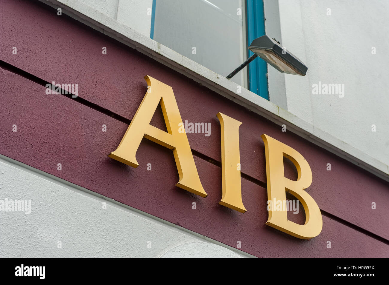 An AIB bank sign with copy space - Stock Image
