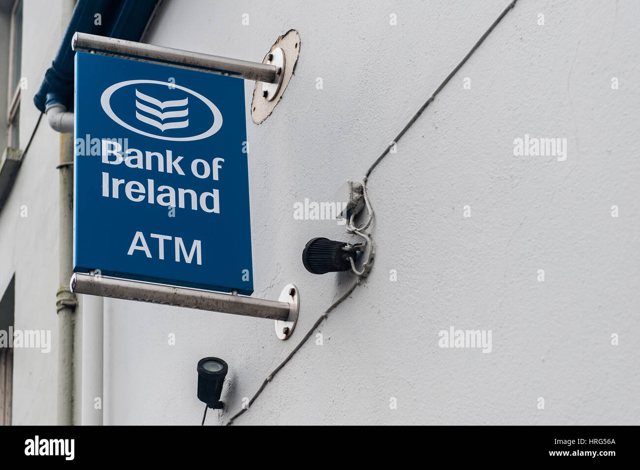 Bank of Ireland ATM sign with copy space. - Stock Image