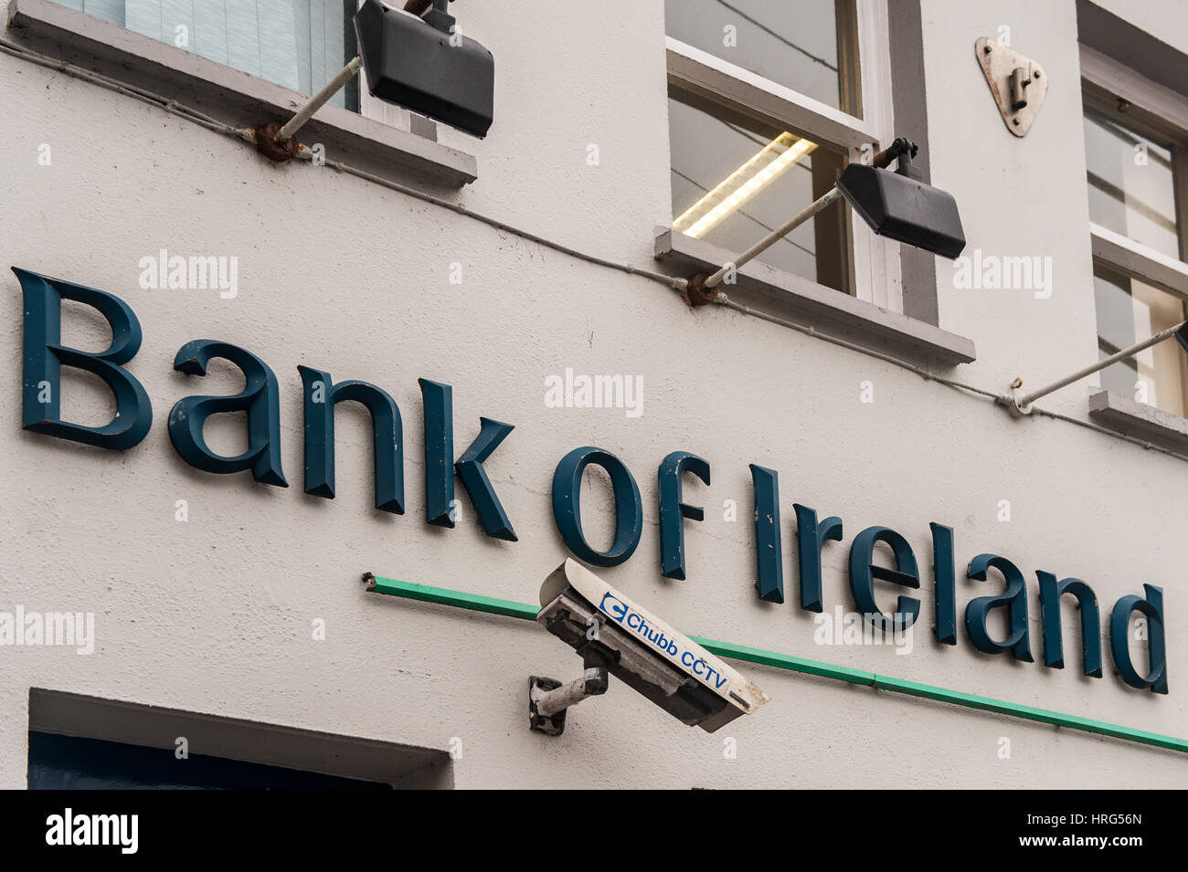 Bank of Ireland sign with copy space. - Stock Image