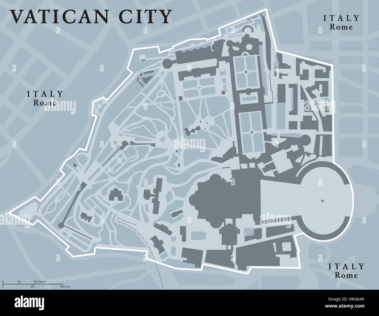 Vatican City State political map Walled enclave within the city of