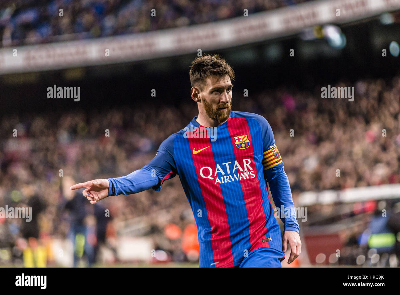 Barcelona, Catalonia, Spain. 1st Mar, 2017. FC Barcelona forward MESSI looks on during the LaLiga match against Stock Photo