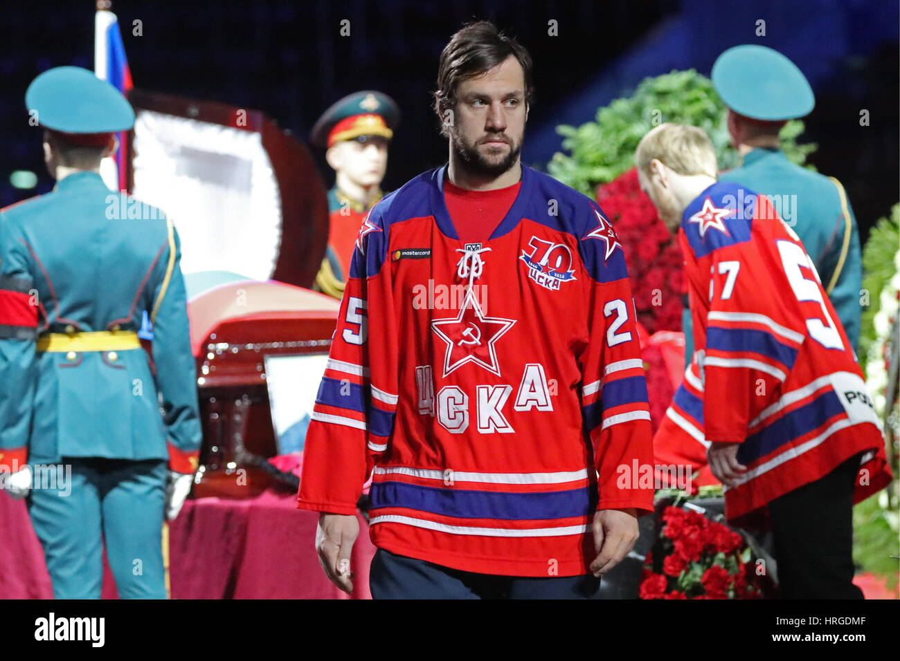 Moscow, Russia. 2nd Mar, 2017. HC CSKA Moscow player Vladimir Zharkov pays last respects to ice hockey forward Vladimir - Stock Image