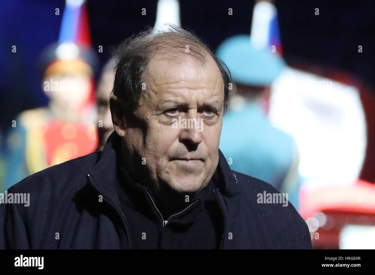 Moscow, Russia. 2nd Mar, 2017. Mikhail Gershkovich, head of the Russian Football Coaches Union, pays last respects - Stock Image