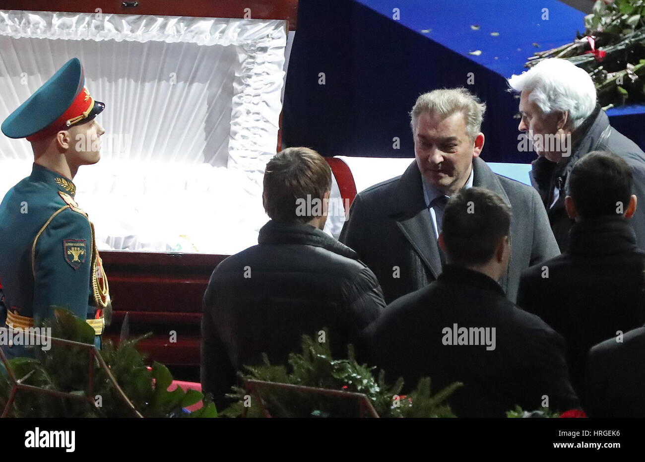Moscow, Russia. 2nd Mar, 2017. Vladislav Tretiak (2nd R), former goaltender with the Soviet national ice hockey - Stock Image