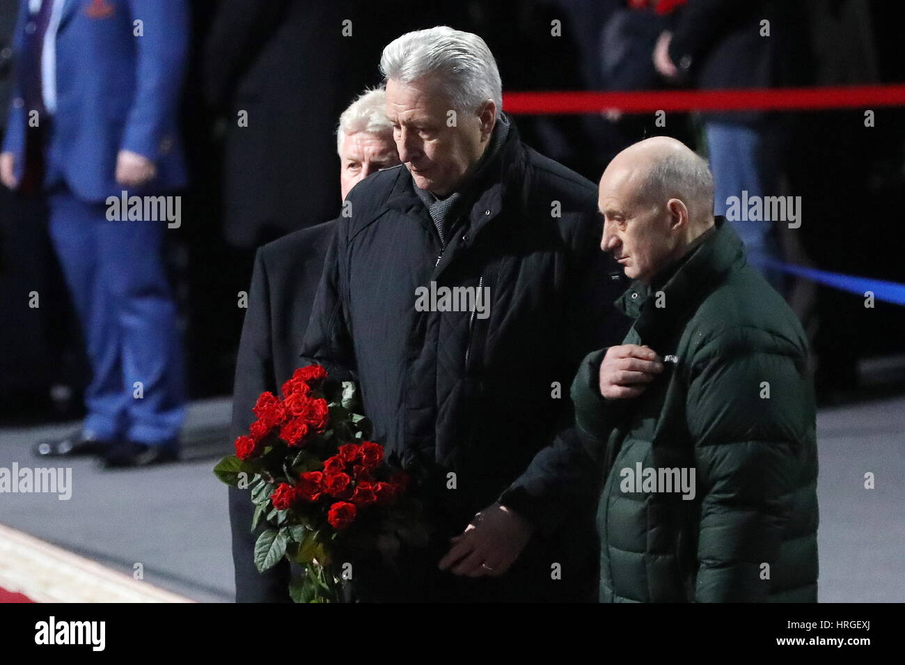 Moscow, Russia. 2nd Mar, 2017. Retired ice hockey players Vladimir Myshkin and Alexander Yakushev (L-R) pay last - Stock Image