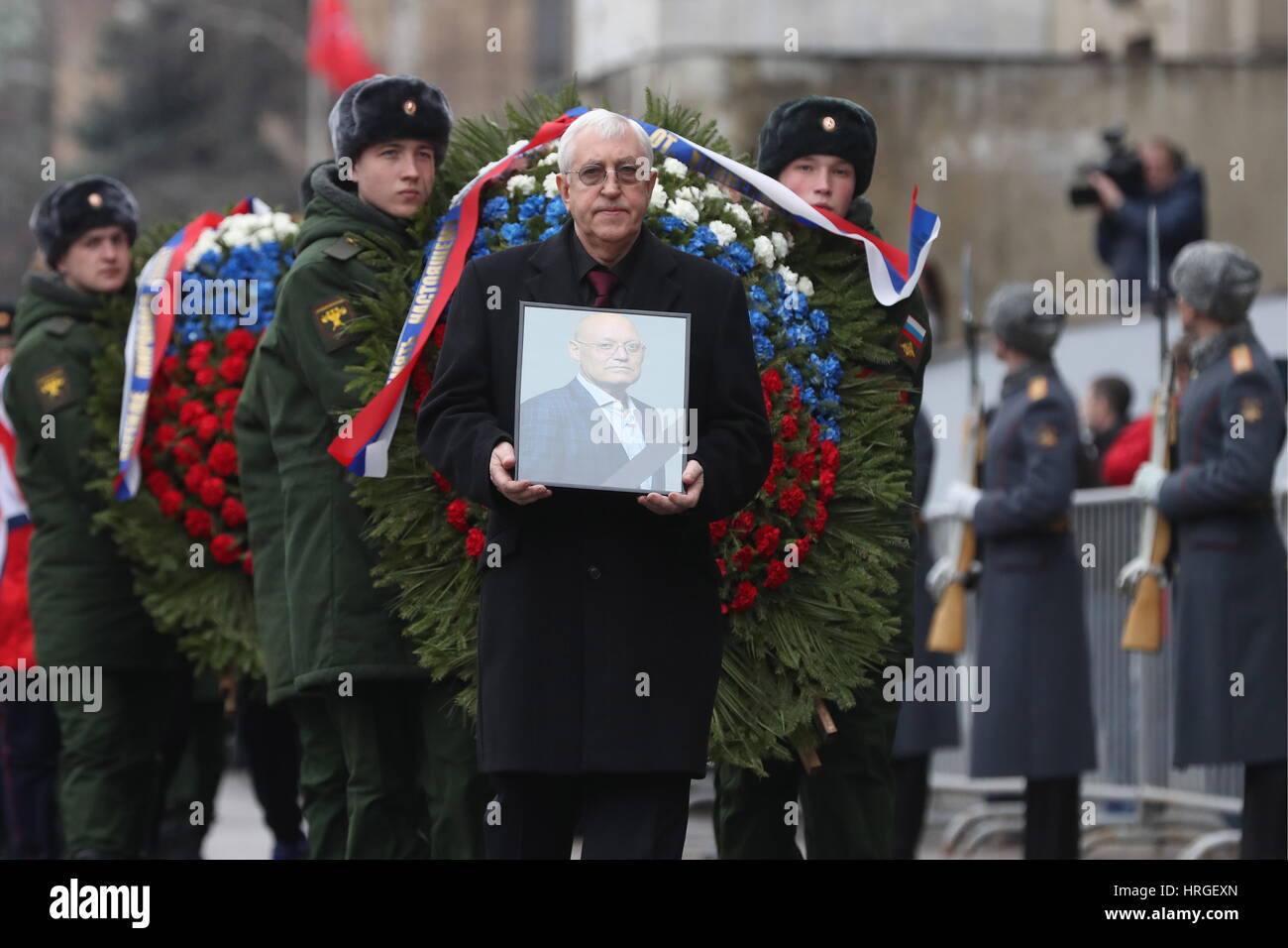 Moscow, Russia. 2nd Mar, 2017. IIHF coaching committee member Boris Mikhailov after a mourning ceremony for ice - Stock Image