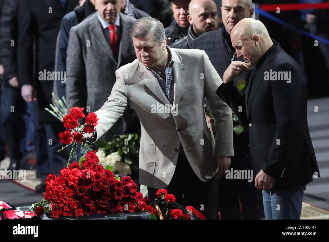 Moscow, Russia. 2nd Mar, 2017. Dzhambolat Tedeyev (L), head coach of the Russian national freestyle wrestling team, - Stock Image