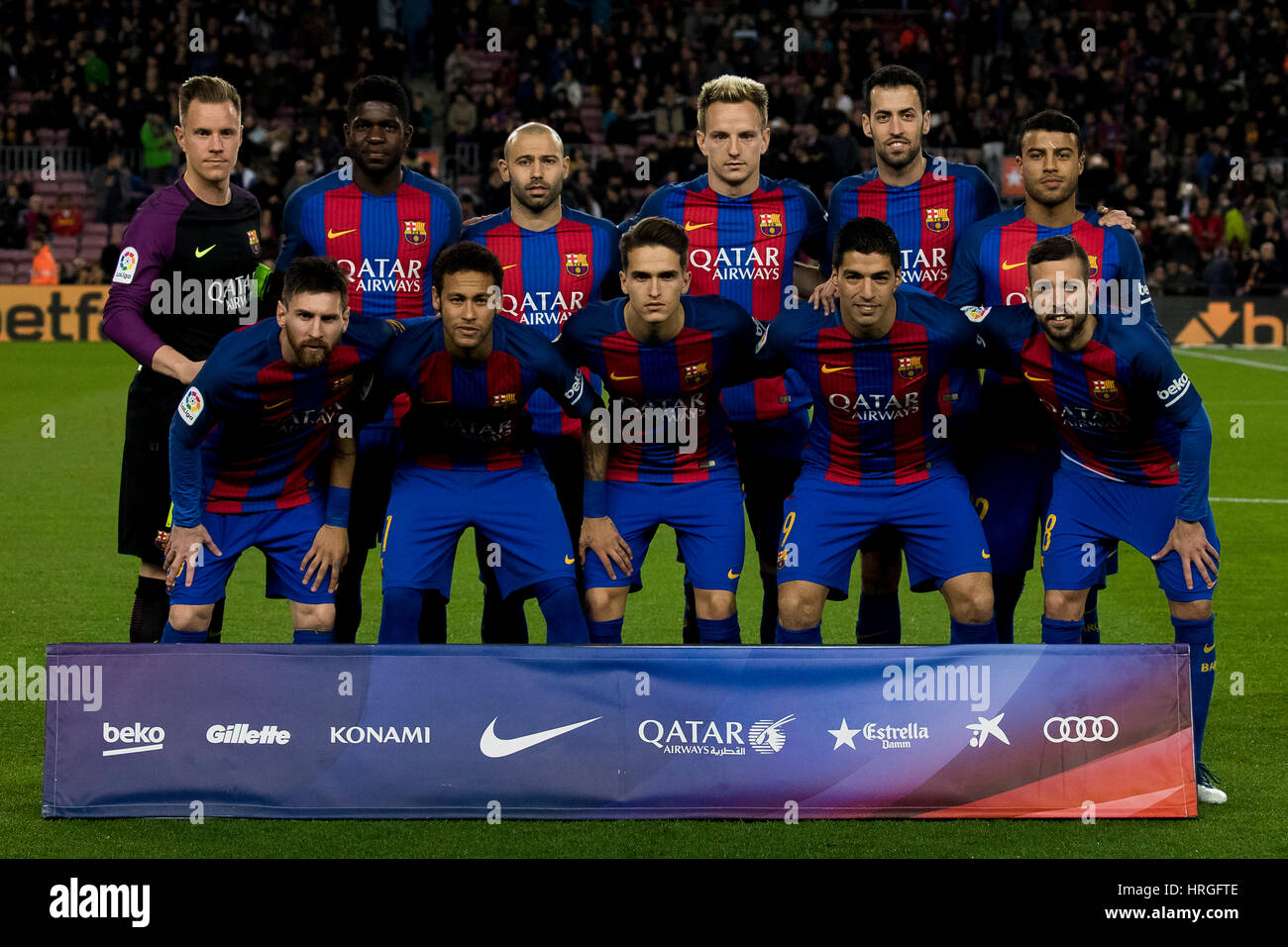 Camp Not Stadium, Barcelona, Spain. 1st March, 2017. Starting 11 of FC Barcelona at Camp Nou Stadium, Barcelona, - Stock Image