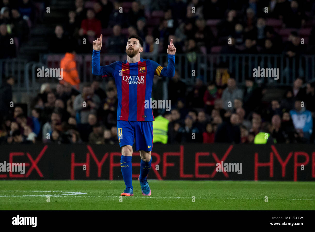 Camp Not Stadium, Barcelona, Spain. 1st March, 2017. Messi celebrates his first goal at Camp Nou Stadium, Barcelona, - Stock Image