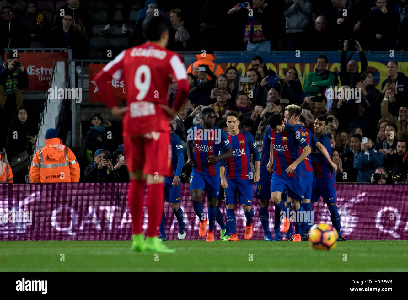Camp Not Stadium, Barcelona, Spain. 1st March, 2017. FC Barcelona's players celebrates J. Rodriguez own goal - Stock Image