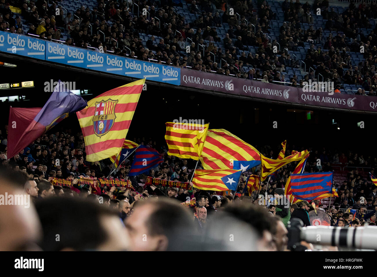 Camp Not Stadium, Barcelona, Spain. 1st March, 2017. FC Barcelona's animation stage at Camp Nou Stadium, Barcelona, - Stock Image