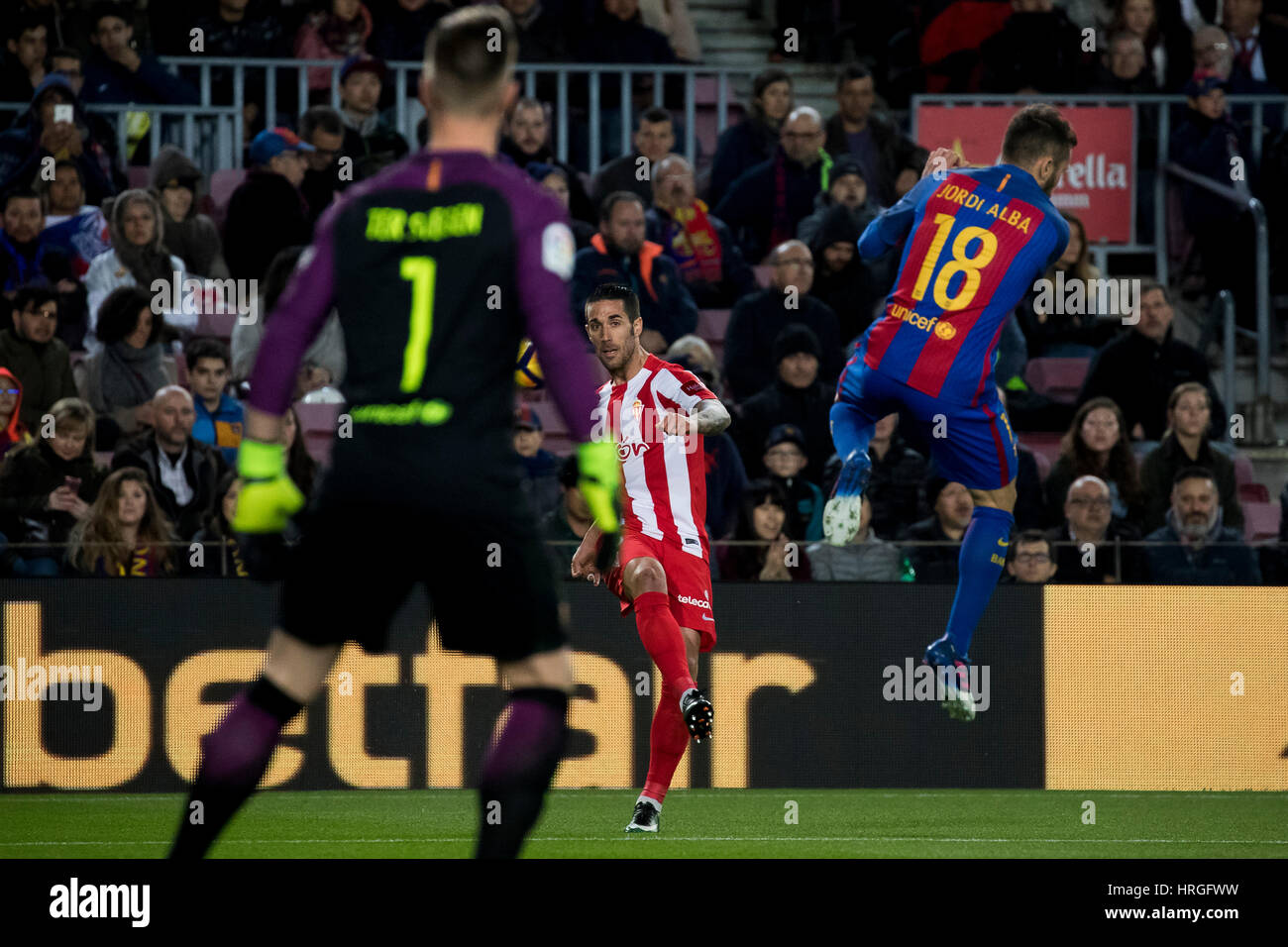 Camp Not Stadium, Barcelona, Spain. 1st March, 2017. Lillo's kick to the box at Camp Nou Stadium, Barcelona, - Stock Image