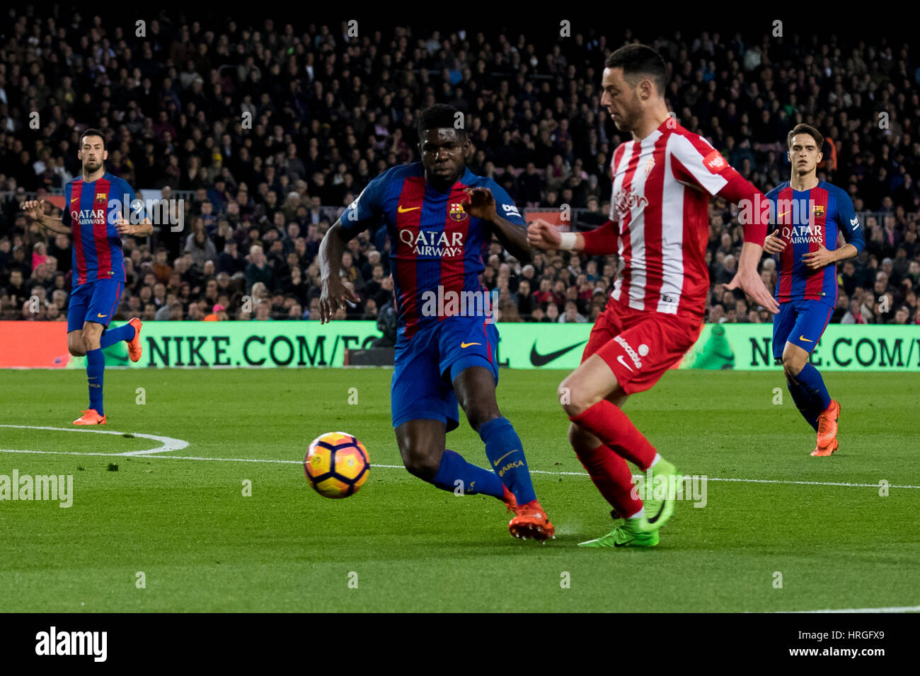 Camp Not Stadium, Barcelona, Spain. 1st March, 2017. Burgui snaps from Umtiti at Camp Nou Stadium, Barcelona, Spain. - Stock Image