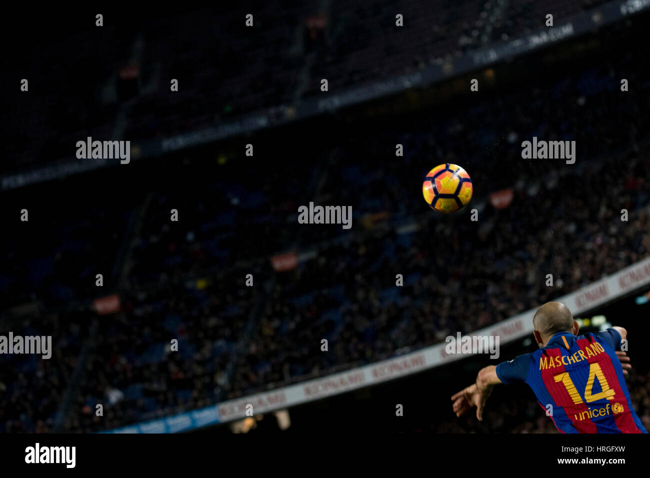 Camp Not Stadium, Barcelona, Spain. 1st March, 2017. Throw of Macherano at Camp Nou Stadium, Barcelona, Spain. Credit: - Stock Image