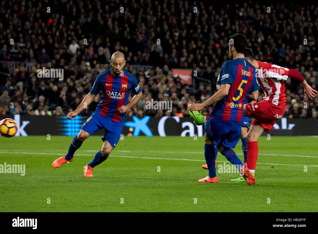 Camp Not Stadium, Barcelona, Spain. 1st March, 2017. Kick goal of Burgui at Camp Nou Stadium, Barcelona, Spain. - Stock Image
