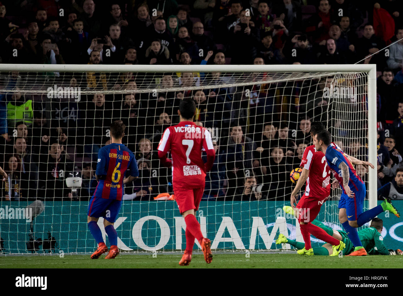 Camp Not Stadium, Barcelona, Spain. 1st March, 2017. Paco Alcacers goal at Camp Nou Stadium, Barcelona, Spain. Credit: - Stock Image