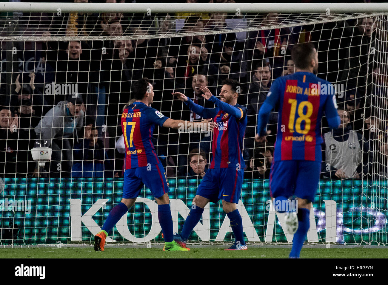 Camp Not Stadium, Barcelona, Spain. 1st March, 2017. Paco Alcocer celebrates his goal with Messi at Camp Nou Stadium, - Stock Image