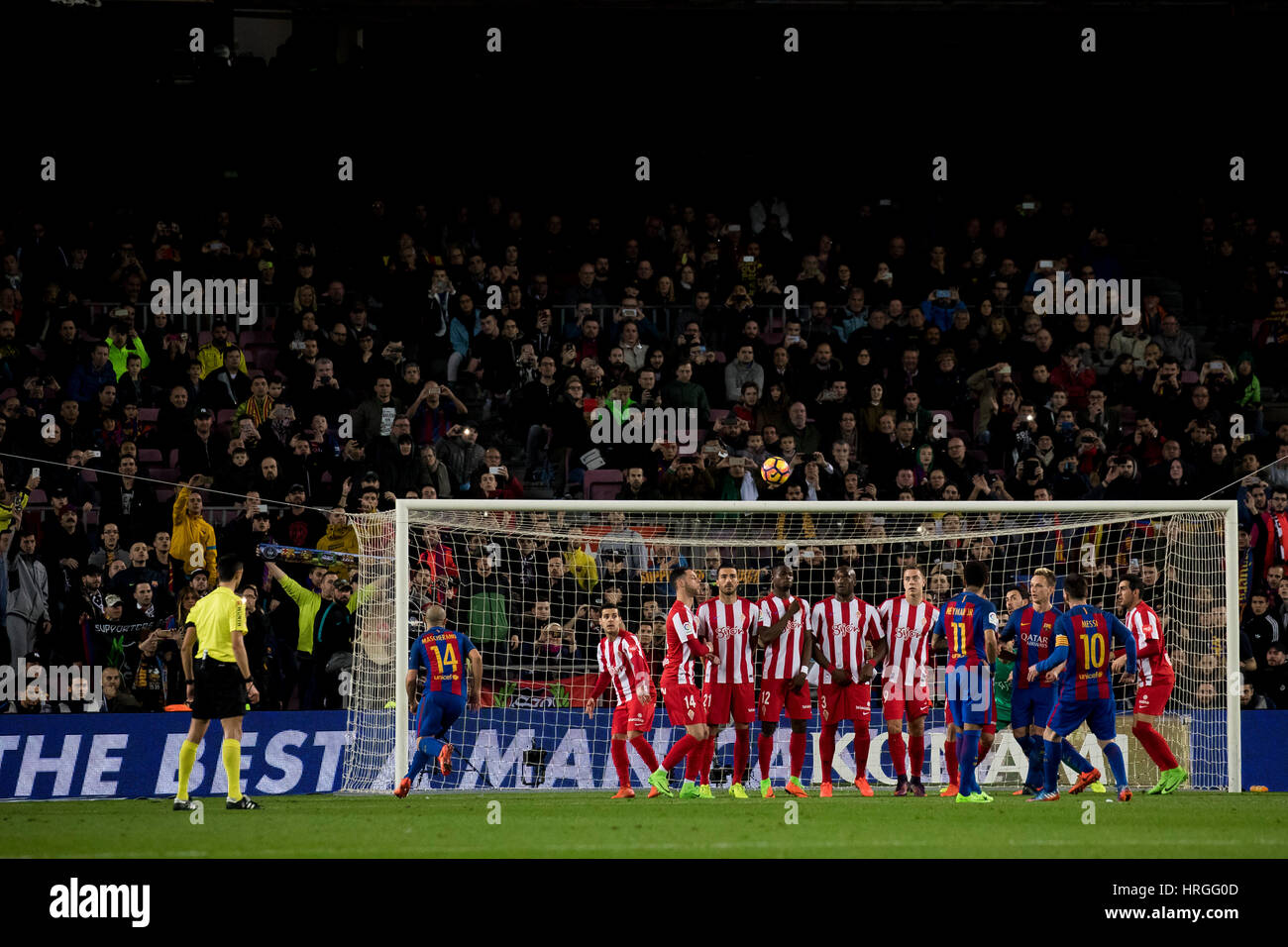 Camp Not Stadium, Barcelona, Spain. 1st March, 2017. Foult kick off Messi at Camp Nou Stadium, Barcelona, Spain. - Stock Image