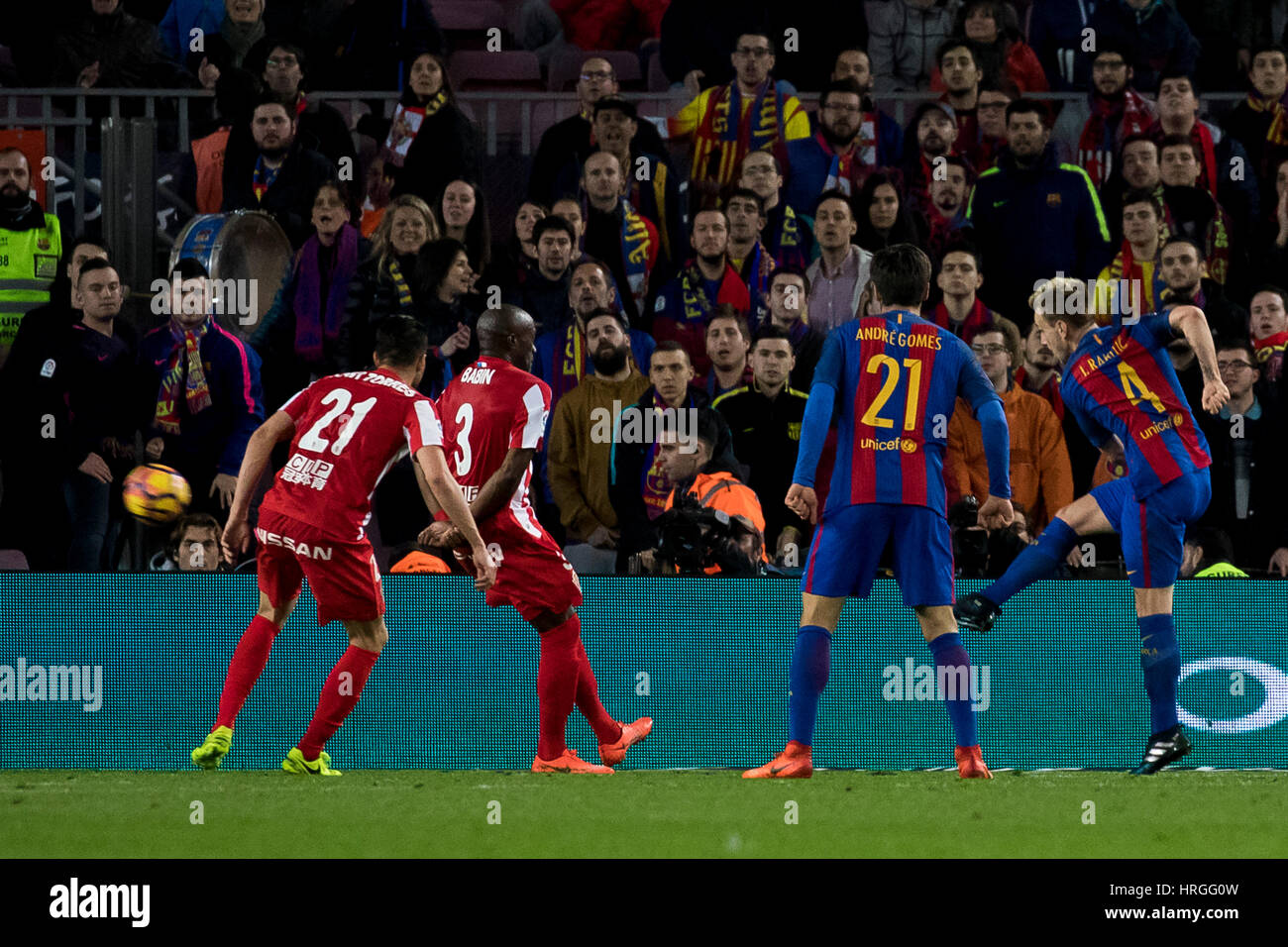 Camp Not Stadium, Barcelona, Spain. 1st March, 2017. Rakitic's goal at Camp Nou Stadium, Barcelona, Spain. Credit: - Stock Image