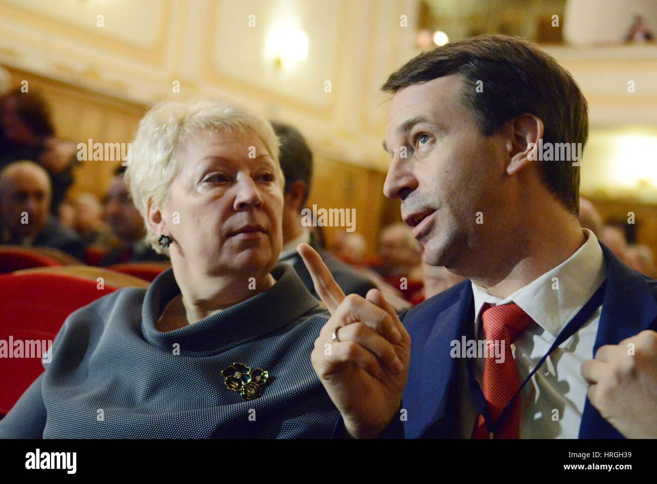 Moscow, Russia. 2nd Mar, 2017. Russia's Science and Education Minister Olga Vasilyeva (L) and her deputy Grigory - Stock Image